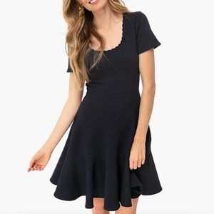 Rebecca Taylor Textured Fit-&-Flare Dress Navy 6
